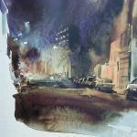 la rue du Progrès / aquarelle
